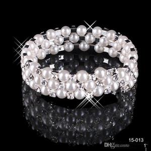 En Stock Pulsera de perlas de imitación Joyería nupcial Accesorios de boda Lady Prom Evening Party Jewery Pulseras de novia Mujeres Envío gratis