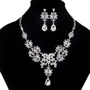 2020 Fashion Crystal Adjustable Bridal Jewelry Sets Wedding Rhinestone Necklace Necklace Earrings Jewelry Set Cheap Wedding Accessories