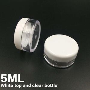 frete grátis Branco Tampa 5ML PS Creme Jar, Mini Creme cosmético Amostra frasco Display Case Cosmetic Packaging garrafa de plástico 5g Mini