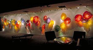 Vendita mano calda soffiata Piastre Art Glass Flower Hotel Galleria Piastre Decor Flower Murano parete di vetro