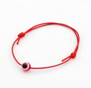 Free Ship 100pcs Hamsa String Evil Eye Lucky Rouge Chinois noeud réglable Bracelet réglable