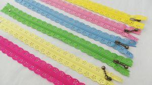 500 teile / los Mode 20 cm oder 25 cm reißverschlüsse spitze nylon finish reißverschluss zum nähen von hochzeitskleid etc 24 farbe schnelles verschiffen