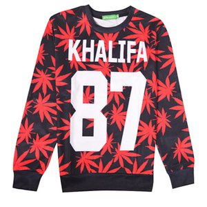 New fashion red and green leaf khalifa pattern men  women spring autumn lovers 3D long sleeve pullover sweatshirts hoodies