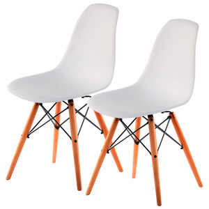 Set 2 Mid Century Modern DSW Restaurants Side Chair Holz Beine Weiß Neu