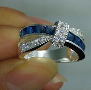 Venda por atacado - NOVO 100% Marca frete grátis Fine Jewelry 925 prata esterlina azul safira Gem Mulheres casamento Belt Buckle Ring size6 / 7/8/9