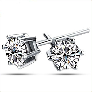 Classic women earring studs 6mm zirconia white gold plated stud earring