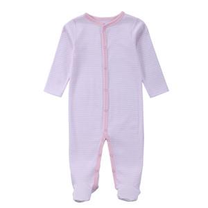 Baumwolle Frühling Herbst Rosa Footed Pyjamas Mädchen One Piece Footed Pyjamas für Mädchen 3M / 6M / 9M / 12M