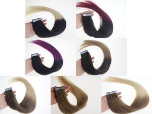 Sıcak Satış 16 Inç 24 Inç Ombre Remy Bant Cilt İnsan Saç Uzantıları, Remy Bant Saç Uzantıları, 20 adet / torba 30g, 40g, 60g, 70g / Çanta 1 Torba / lot