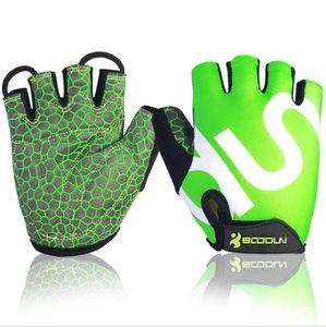 Boodun 2140018 emparejados hombres mujeres antideslizante medio dedo guantes para ciclismo gimnasio deporte montañismo actividades al aire libre Golves