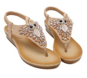 2017 Tallas grandes 35 a 40 Bohemian Gem Rhinestone Sandalias Mujeres Pisos Zapatos de playa hechos a mano 2 colores