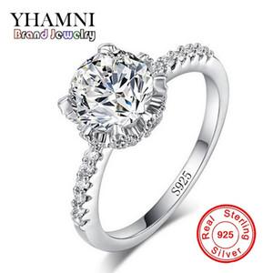 YHAMNI Wedding Pure Solid 100% 925 Sterling Sliver Anillo 1 Quilate CZ Diamond Para Regalo de Las Mujeres Joyería de La Vendimia JZ068