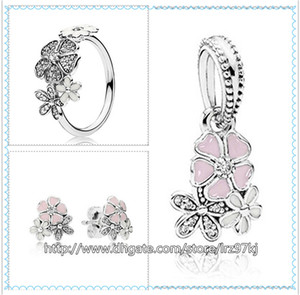 925 Sterling Silber Ring Ohrringe und Schmuck Charms Anhänger Sets mit Box Passend für European Jewelry Bracelets Halsketten-Poetic Blooms