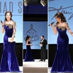 2020 Fares NUOVO trasporto libero di goccia di trasporto della celebrità da sera dei vestiti Myriam manica lunga Mermaid Bead Velvet Custome sera abiti 180