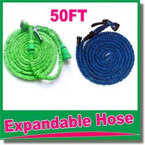 Tuyau rétractable de haute qualité 50 pieds / Tuyau de jardin extensible bleu couleur vert Connecteur rapide Tuyau d'eau avec pistolet à eau OM-D9