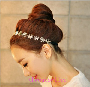 2016 hot Womens Fashion Metal Chain Jewelry Hollow Rose Flower Elastic Hair Band Headband Jewelry Headwear