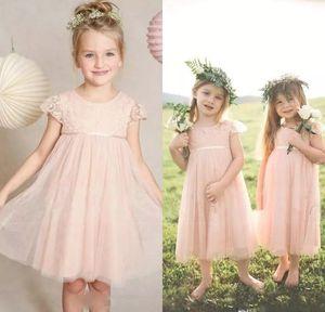 Küçük Pembe Çiçek Kız Elbise Düğün İçin Jewel Boyun Kısa Kollu Dantel Çocuk Resmi Giyim Çay Boyu Ucuz Vintage kızın Pageant Abiye