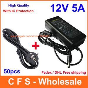 50 pcs AC DC 12 V 5A Adaptateur d'alimentation 60 W Adaptateur secteur + Câble Cordon d'alimentation Fedex Livraison gratuite avec protection IC