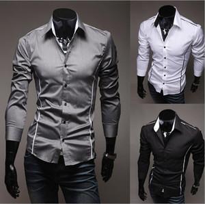 2017 neue Mode Lässig Männer Hemd Schwarz Weiß Langarm Elastischen Dünnen männlichen Hemd Männer Einfarbig Mens Dress Shirts Männer Kleidung