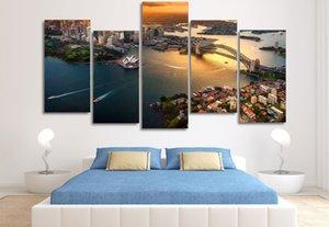 5 Adet Çerçeveli Baskılı Sydney Avustralya Cityscape tuval üzerine Boyama odası dekorasyon baskı posteri resim tuval manzara yağlıboya