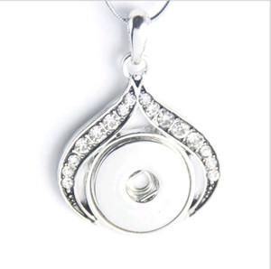 18mm 20mm NOOSA Snap Chunks Button collana pendente gioielli fai da te con strass fiore placcato oro bianco Noosa pendenti