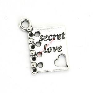 20pcs antique argent plaqué secret amour livre charmes pendentifs pour fabrication de bijoux de bracelet bricolage collier artisanat 15X12mm
