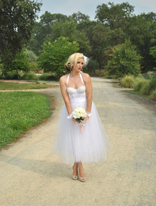 Halter sweetheart beaded backless sexy summer wedding dresses cheap ankle length tulle a line bridal gowns