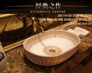 Guardaroba Lavabo ovale in porcellana Lavabo Contatore top Lavello Vessel Bagno Mano Paint Art Lavandino JY-XPTP109