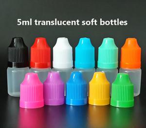 5ml translucide bouteille compte-gouttes en plastique avec Childproof Cap et longue pointe fine, 5ml LDPE bouteilles vides pour 100pcs liquide / lot E de