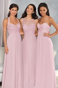 2017 новый пляж длинные платья невесты милая Jewel шеи иллюзия шифон светло-фиолетовый плюс размер подружка невесты свадебное платье