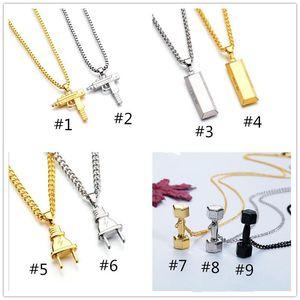 2017 hot hip hop collane figura pistola incisa a forma di pistola Uzi dorato pendente di alta qualità collana oro catena popolare pendente di moda gioielli a237