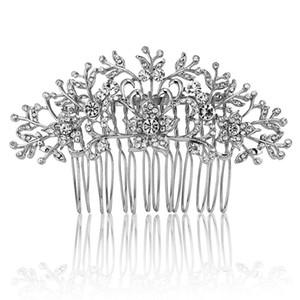 Blucome Bridal Hair Combs Jóias Para As Mulheres Strass Hairwear flor Acessórios Para o Cabelo Para O Partido Presentes Do Casamento De Noiva Bijoux