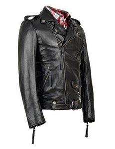 Nueva marca de cuero de los hombres de moda de invierno solapa oblicua con cremallera locomotora carpeta kepi cinturón abrigo / S-3XL
