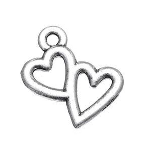 Free shipping 14.5*16mm Antique Silver Plated Small Double Heart Bracelet Finding Charms 30pcs jewelry making