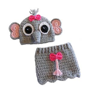 Costume neonato adorabile dell'elefante, crochet fatto a mano lavorato all'uncinetto della neonata Cappello dell'elefante e insieme della gonna, abiti animali dei capretti, puntello della foto del bambino