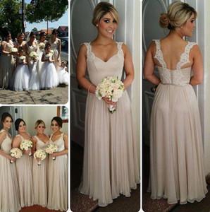 패션 국가 신부 들러리 드레스 긴 라인 시폰 스파게티 레이스 스트랩 Backless 바닥 길이 파티 드레스 신부 들러리 드레스 저렴한 BM0174