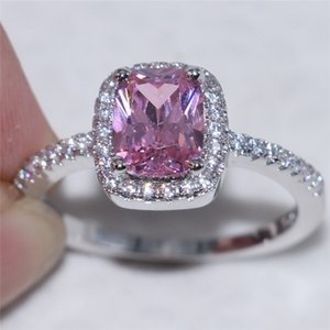 Fashion Women Silver For Set 925 Band Pink Simulated Wedding Sterling Ring Engagement Diamond Square With Zircon Jewelry Gkpmr