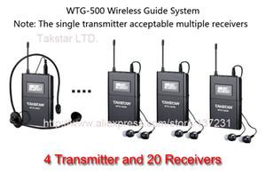 2016 Nuevo Hot AIBIERTE Uhf Tour Guide Sistema inalámbrico Sistema de iglesia (4 transmisores y 20 receptores) Visita al museo Takstar WTG-500