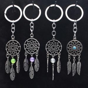 패션 선물 핑크 블랙 비즈 Dreamcatcher 깃털 바람 종소리 드림 캐처 키 체인 여성 빈티지 인도 스타일 키 체인
