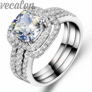 Vecalon moda anel de corte cut 3ct cz diamante 3-em-1 anel de aliança de casamento conjunto para as mulheres 10KT White Gold Filled anel de noivado