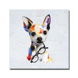 2016 mais novo projeto decorativo bens domésticos pintura a óleo handmade adorável pet dog wall pictures para quarto