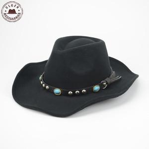 Atacado-Cool Mens chapéu de vaqueiro ocidental lã preta feltro chapéu fedora clássica stetson Jazz chapéus grande brim Mens chapéu de panamá fedora Caps