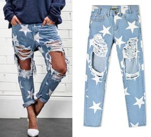 2016 Nueva llegada Europa Estados Unidos Ropa para mujer Estrella floja sello agujero pantalones holgados Ms personalidad de la moda denim pantalones rectos