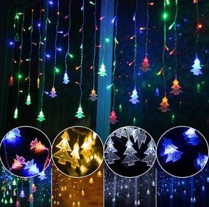 Cadeia de lâmpada decorativa ao ar livre AC 220 V Janela xmas O EVA Trilhos Árvore De Natal Pingente de decoração CONDUZIU a correia da lâmpada cinto de Plugue Da Cauda