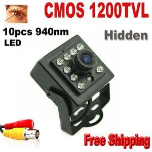 Nachtsichtkamera 1200TVL CCTV Sicherheit Kamera CMOS Farbe Mini Kamera 10pcs 940nm LED 3,6 mm Objektiv Mini CCTV Kamera Überwachungskamera Mini