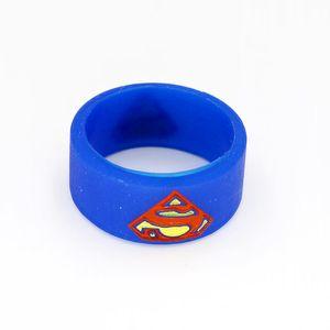 Superman Batman Captain America Flash Silicone Vape Band Engraved Logo Silicon Beauty Decorative Ring for Glass Tanks Rba Rda Vapor Mod DHL