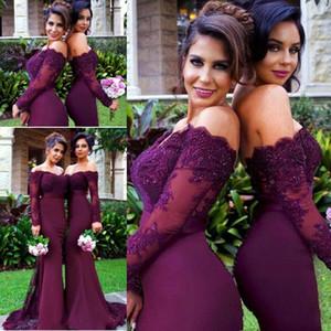 Country Beach Burgundy Lace Partei Mermaid Long Sleeve Brautjungfernkleider Arabisch Off-Schulter Hochzeit Gast Party-Kleid