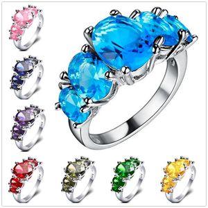 Ювелирные изделия способа ювелирных изделий стерлингового серебра 925 Blue Fire Opal моды кольцо Обручальное кольцо Обручальное