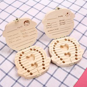Bebek için Toptan-Diş Kutusu Süt Dişlerini Erkek / Kız Resmi Ahşap Saklama Kutuları Çocuk Seyahat Seti ingilizce versiyonu MPB21 için Creative Gift