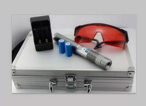 Atualização Laser Pointer Pen 10 Mile 5 w Mais Poderoso Azul Laser Pointer com Caixa de Metal Carregador de óculos e bateria