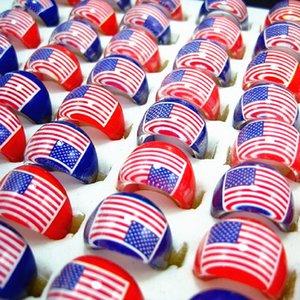 Brand new 100pcs multicolore bambini resina stelle e strisce bandiera americana rotonda gioielli anelli lotti all'ingrosso